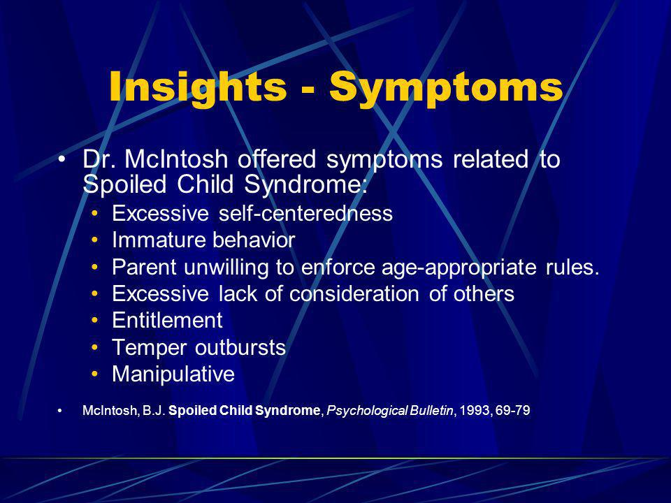 Insights - Symptoms Dr. McIntosh offered symptoms related to Spoiled Child Syndrome: Excessive self-centeredness.