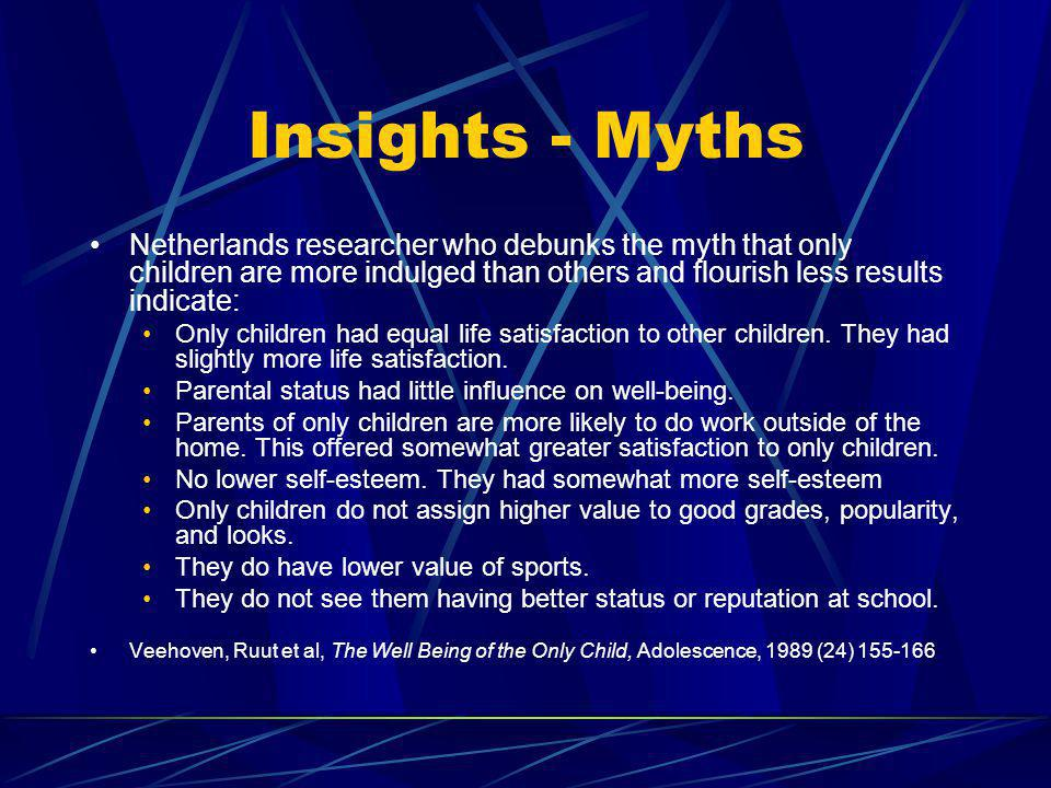 Insights - Myths Netherlands researcher who debunks the myth that only children are more indulged than others and flourish less results indicate: