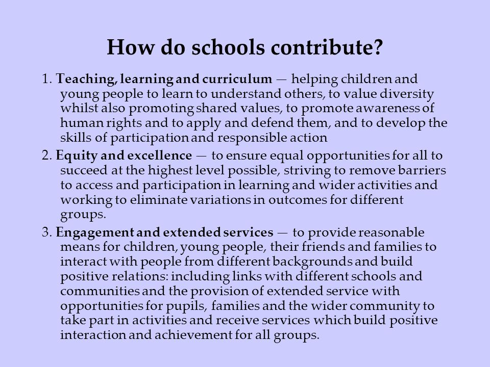 How do schools contribute