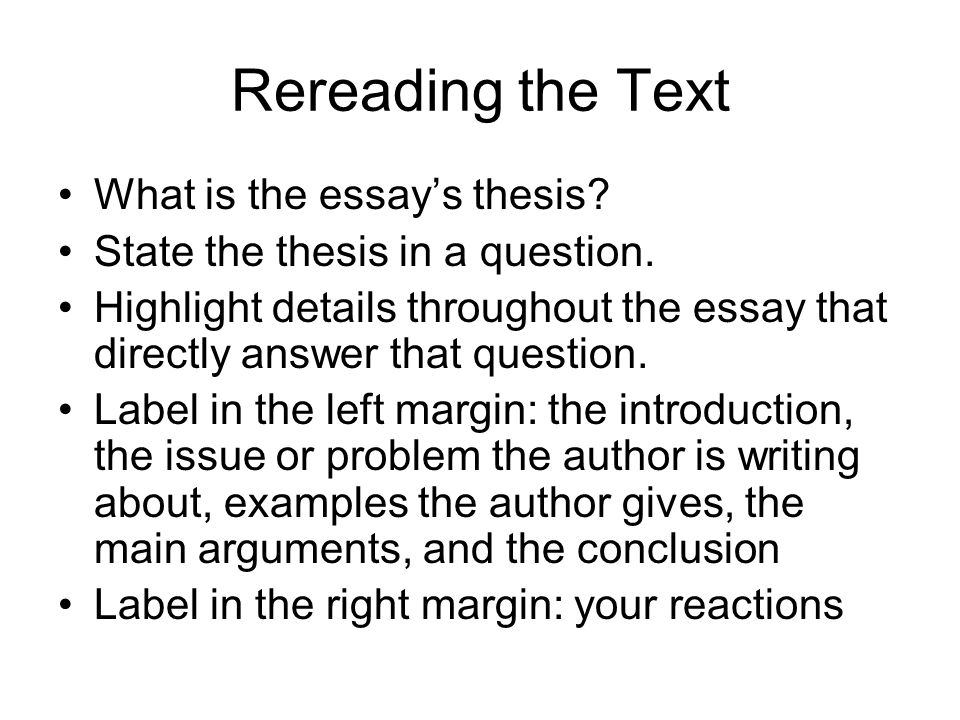 Rereading the Text What is the essay's thesis