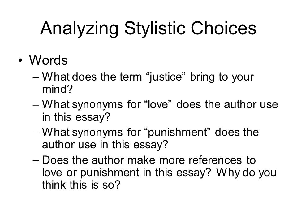 Analyzing Stylistic Choices