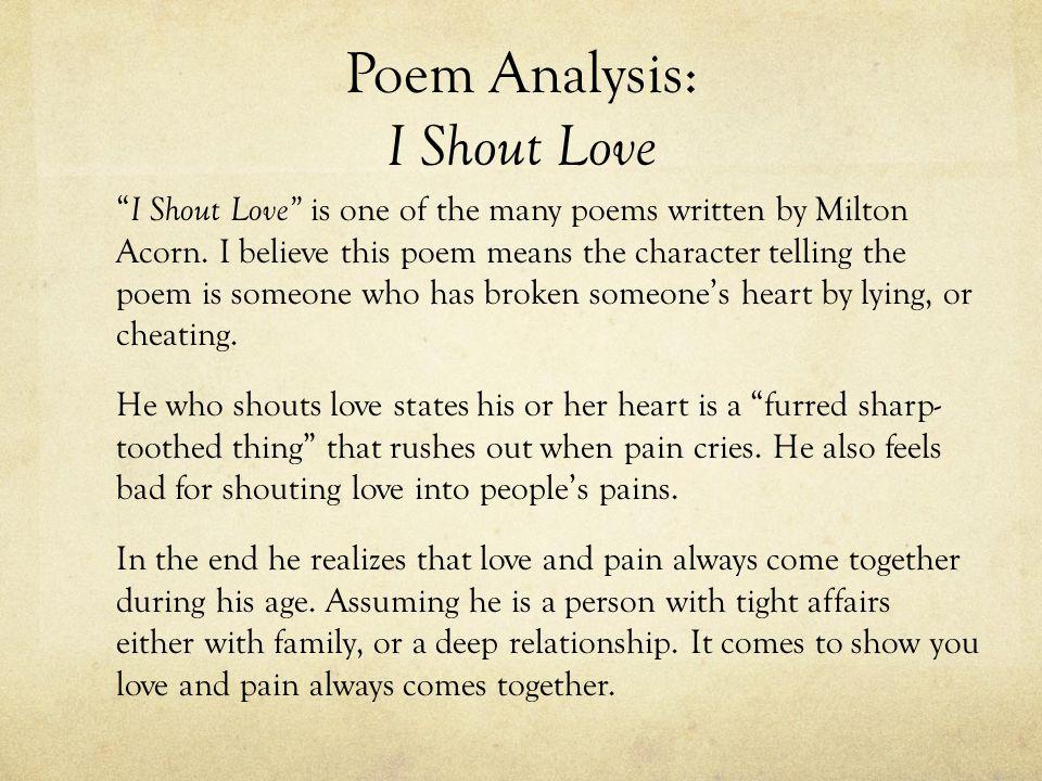 Poem Analysis: I Shout Love