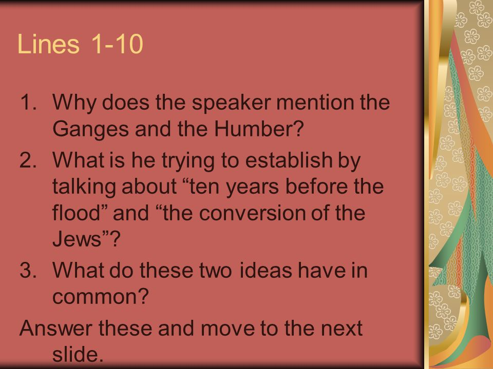 Lines 1-10 Why does the speaker mention the Ganges and the Humber