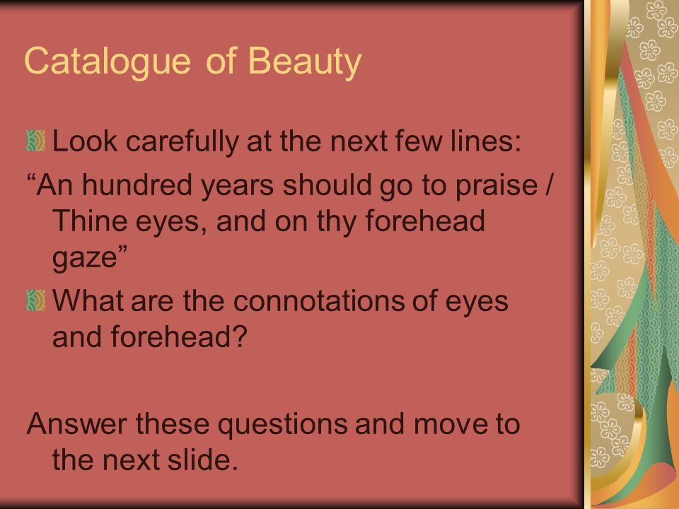Catalogue of Beauty Look carefully at the next few lines: