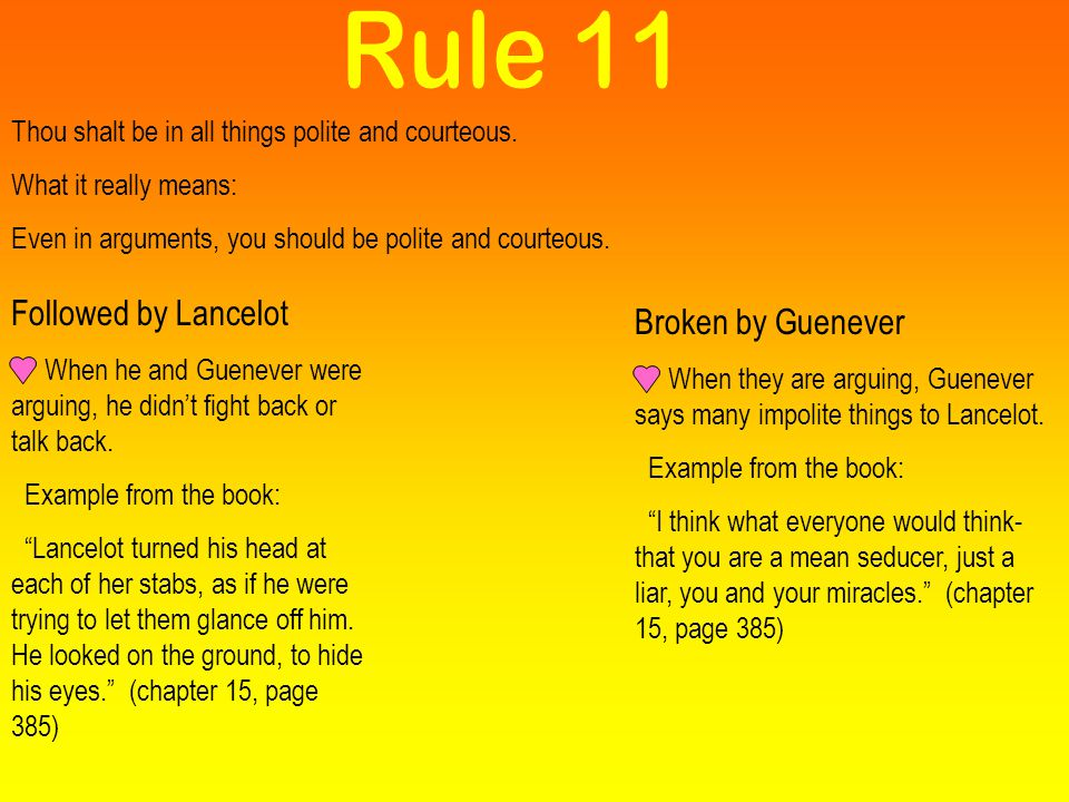 Rule 11 Followed by Lancelot Broken by Guenever
