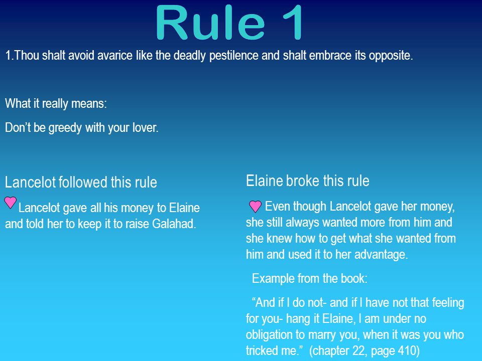Rule 1 Lancelot followed this rule Elaine broke this rule