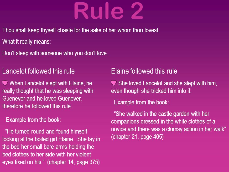 Rule 2 Lancelot followed this rule Example from the book: