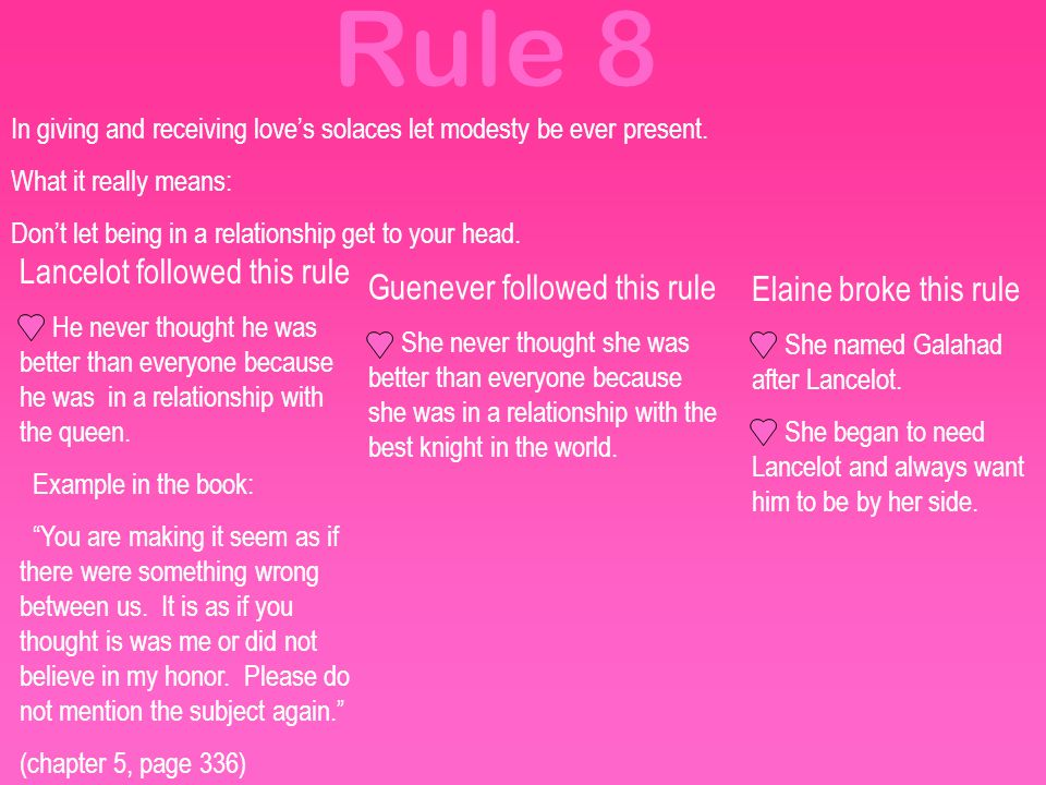 Rule 8 Lancelot followed this rule Guenever followed this rule