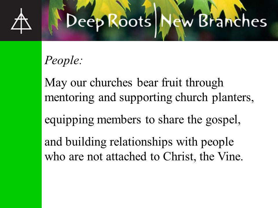 People: May our churches bear fruit through mentoring and supporting church planters, equipping members to share the gospel,
