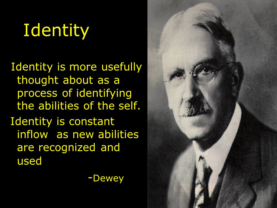 Identity Identity is more usefully thought about as a process of identifying the abilities of the self.