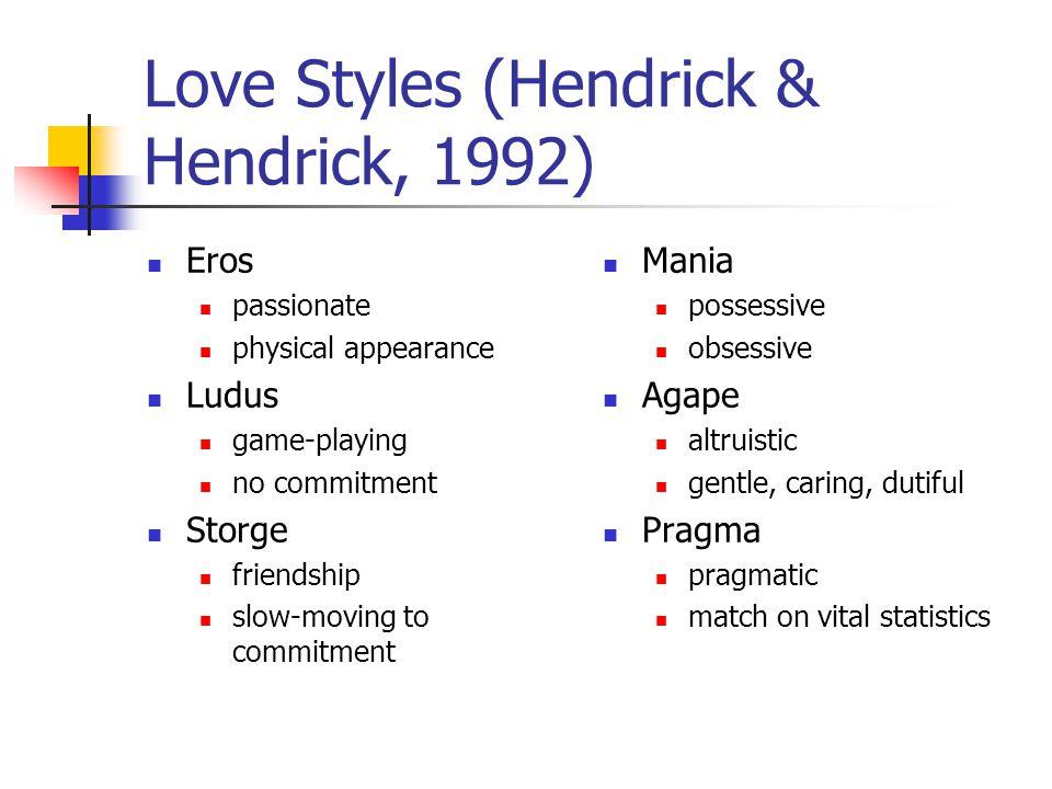 Love Styles (Hendrick & Hendrick, 1992)