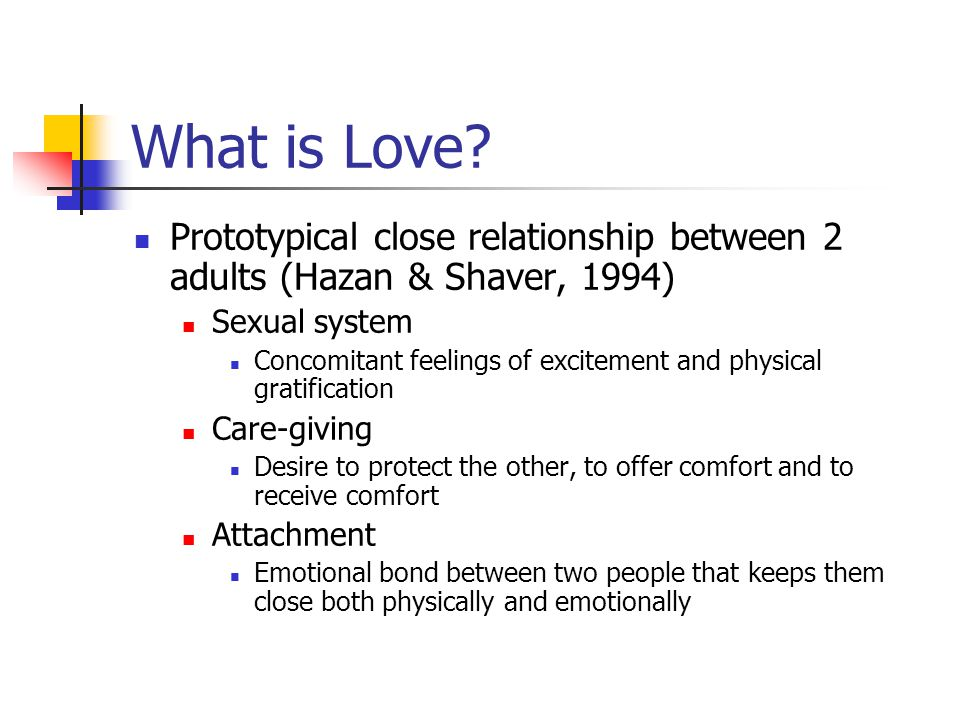 What is Love Prototypical close relationship between 2 adults (Hazan & Shaver, 1994) Sexual system.