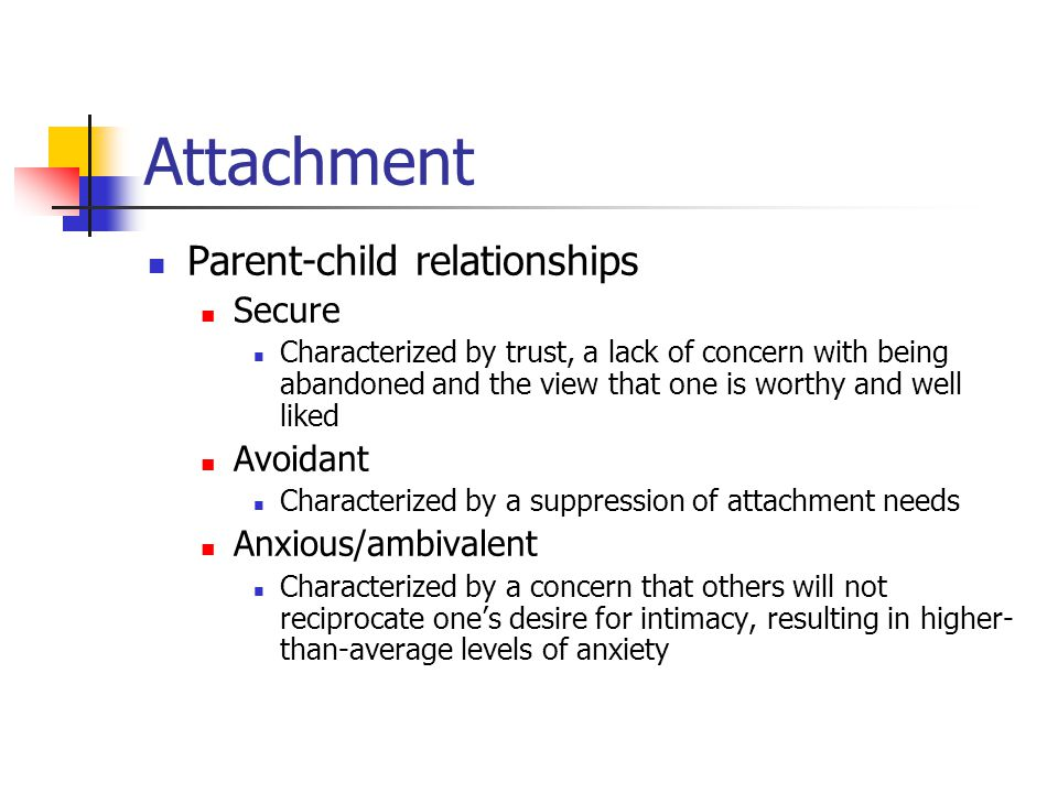 Attachment Parent-child relationships Secure Avoidant