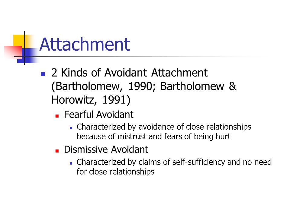 Attachment 2 Kinds of Avoidant Attachment (Bartholomew, 1990; Bartholomew & Horowitz, 1991) Fearful Avoidant.