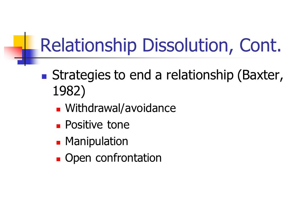 Relationship Dissolution, Cont.