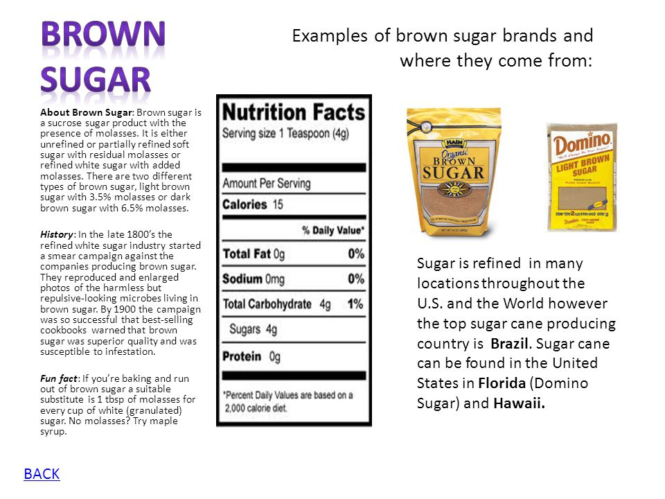 Brown Sugar Examples of brown sugar brands and where they come from: