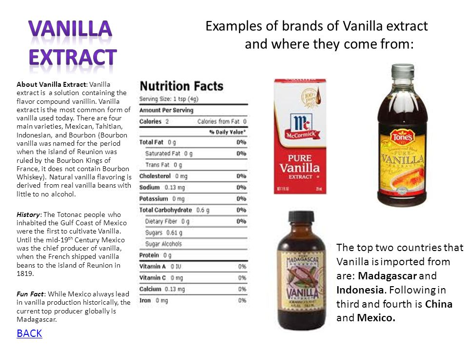 Vanilla Extract Examples of brands of Vanilla extract and where they come from: