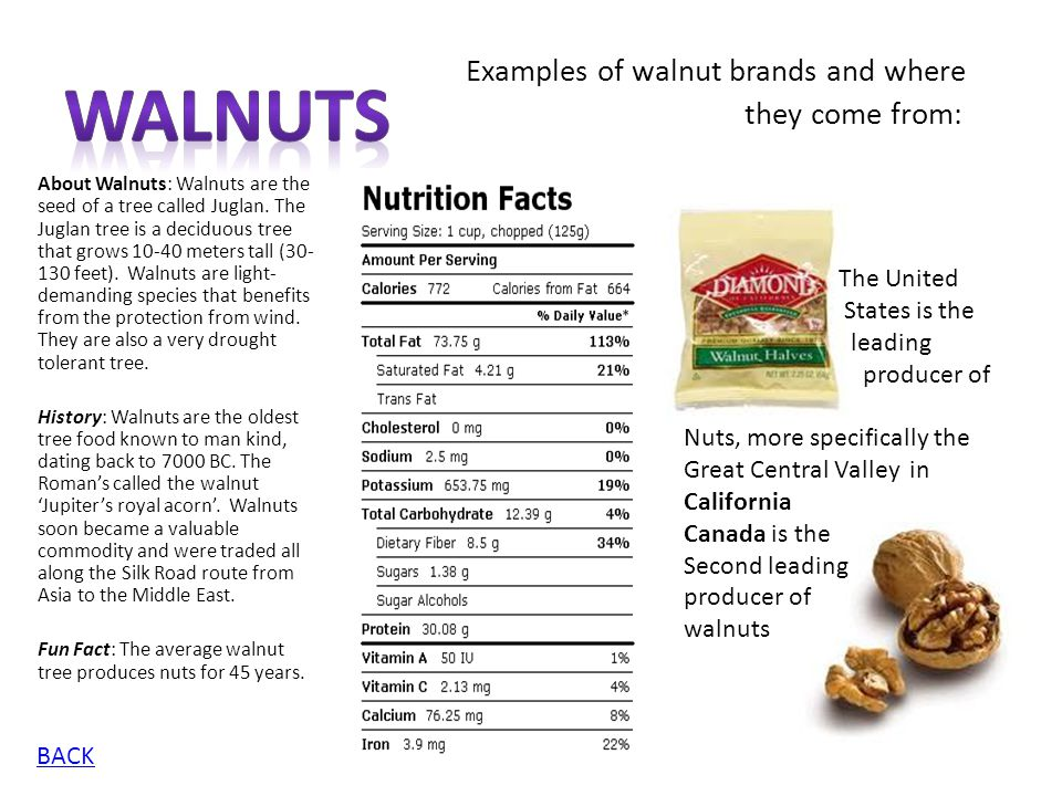 Walnuts Examples of walnut brands and where they come from: