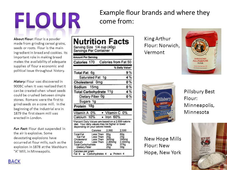 Flour Example flour brands and where they come from: