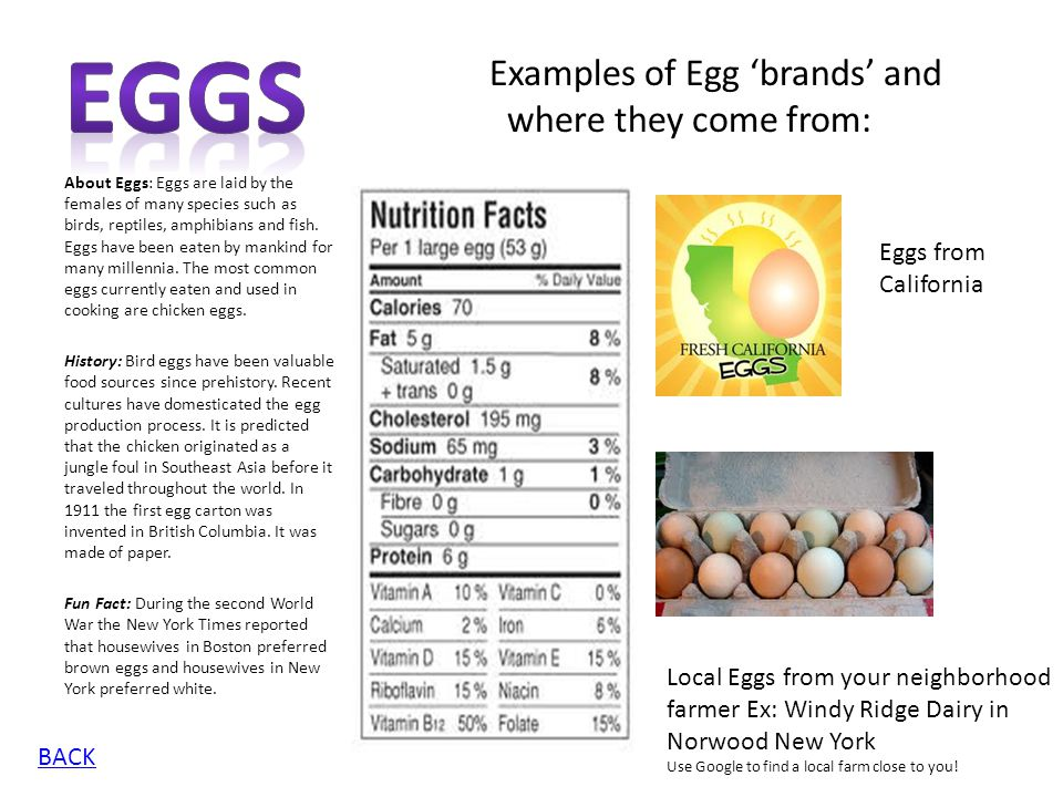 Eggs Examples of Egg 'brands' and where they come from: