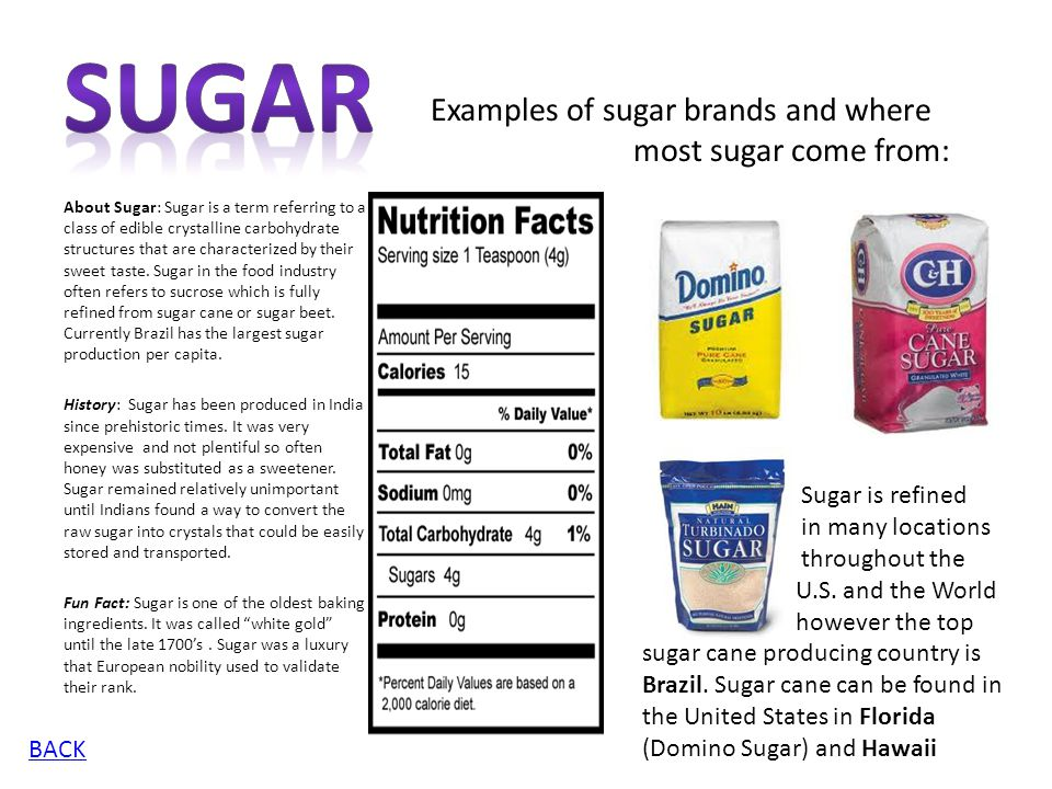 Sugar Examples of sugar brands and where most sugar come from: