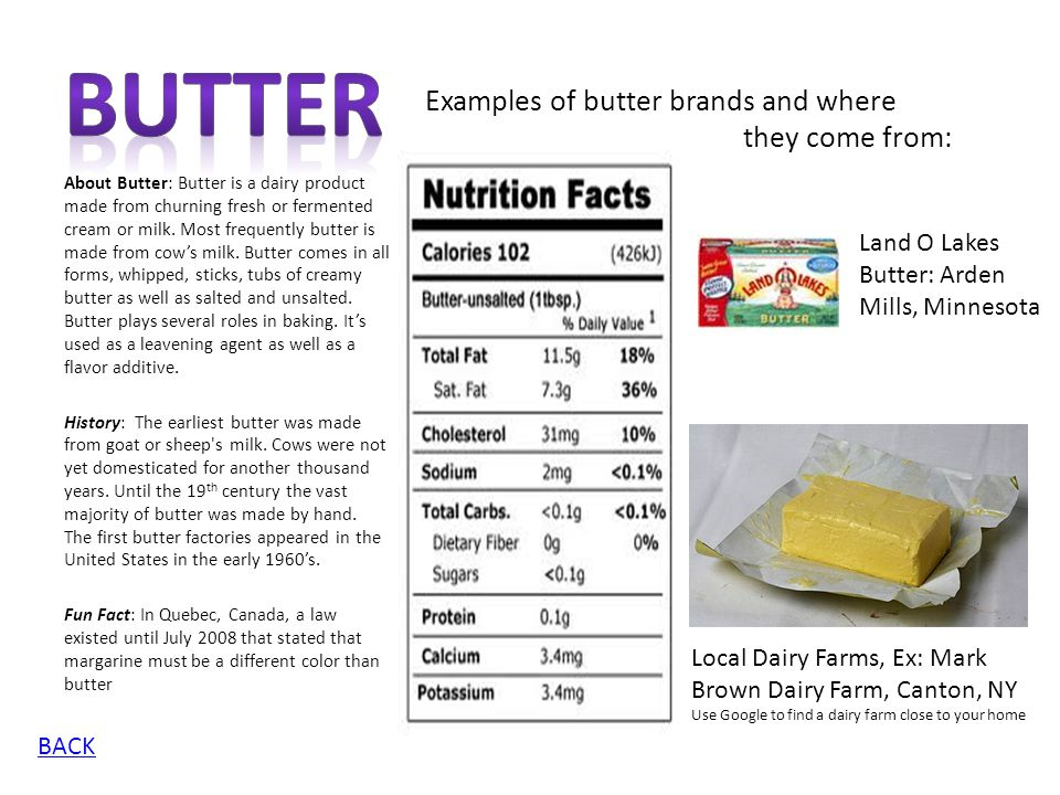 Butter Examples of butter brands and where they come from: