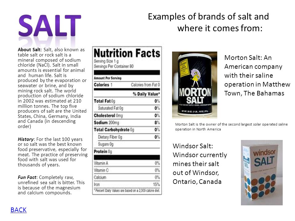 Salt Examples of brands of salt and where it comes from:
