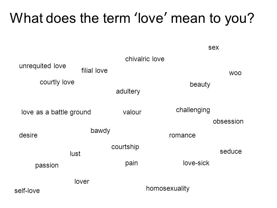 What does the term 'love' mean to you