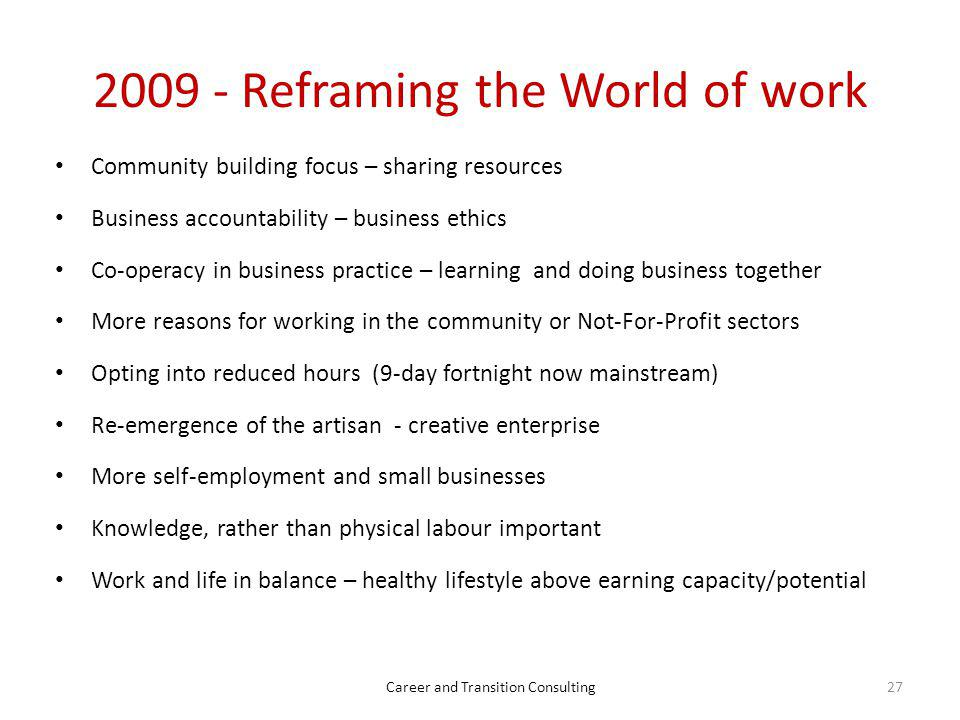 2009 - Reframing the World of work
