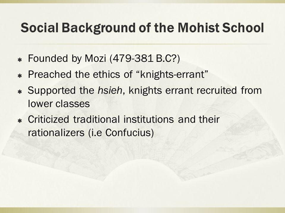 Social Background of the Mohist School