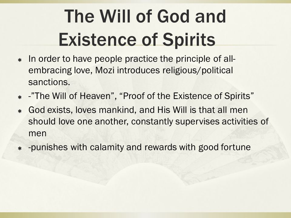 The Will of God and Existence of Spirits