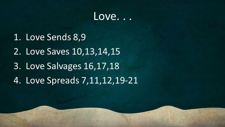 Love. 1. Love Sends 8,9 2. Love Saves 10,13,14,15 3.
