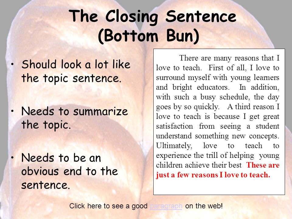 The Closing Sentence (Bottom Bun)