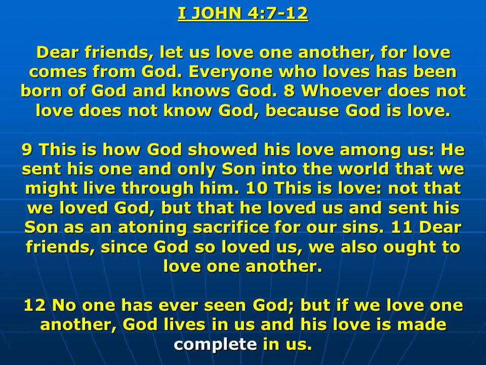 I JOHN 4:7-12