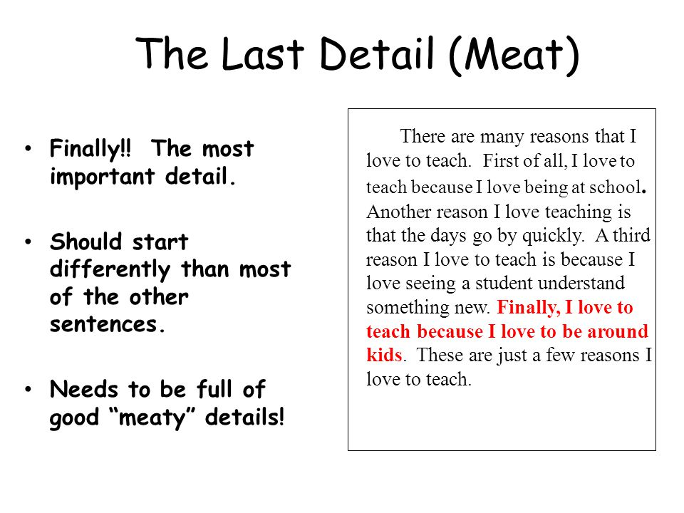 The Last Detail (Meat) Finally!! The most important detail.