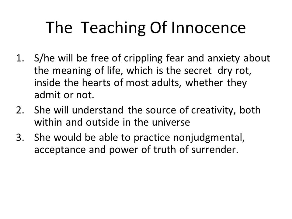 The Teaching Of Innocence