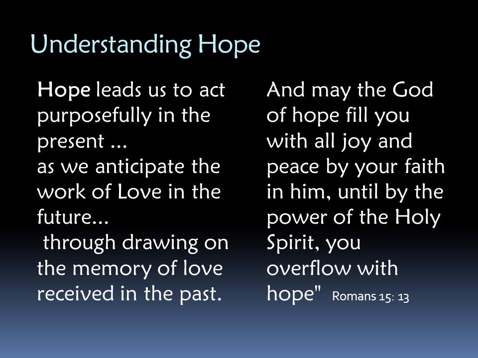 Understanding Hope Hope leads us to act purposefully in the present ... as we anticipate the work of Love in the future...
