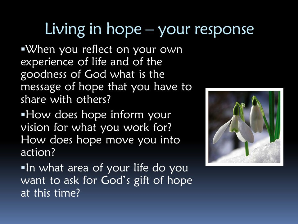 Living in hope – your response