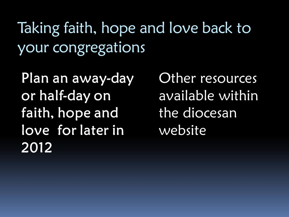 Taking faith, hope and love back to your congregations