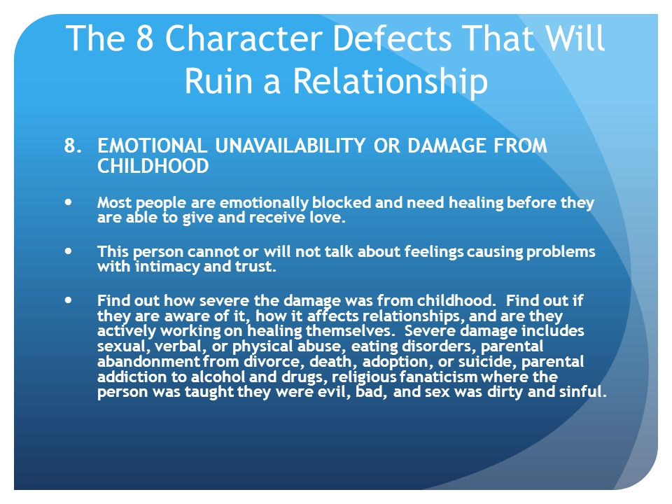 The 8 Character Defects That Will Ruin a Relationship