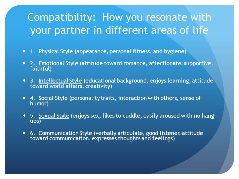 Compatibility: How you resonate with your partner in different areas of life