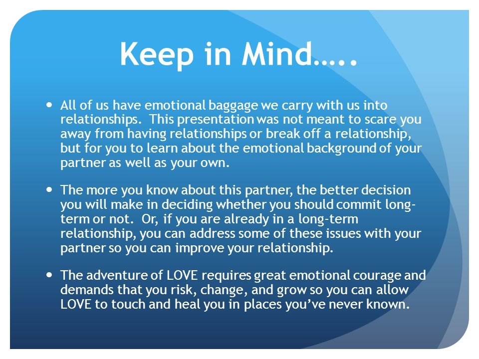 Keep in Mind…..