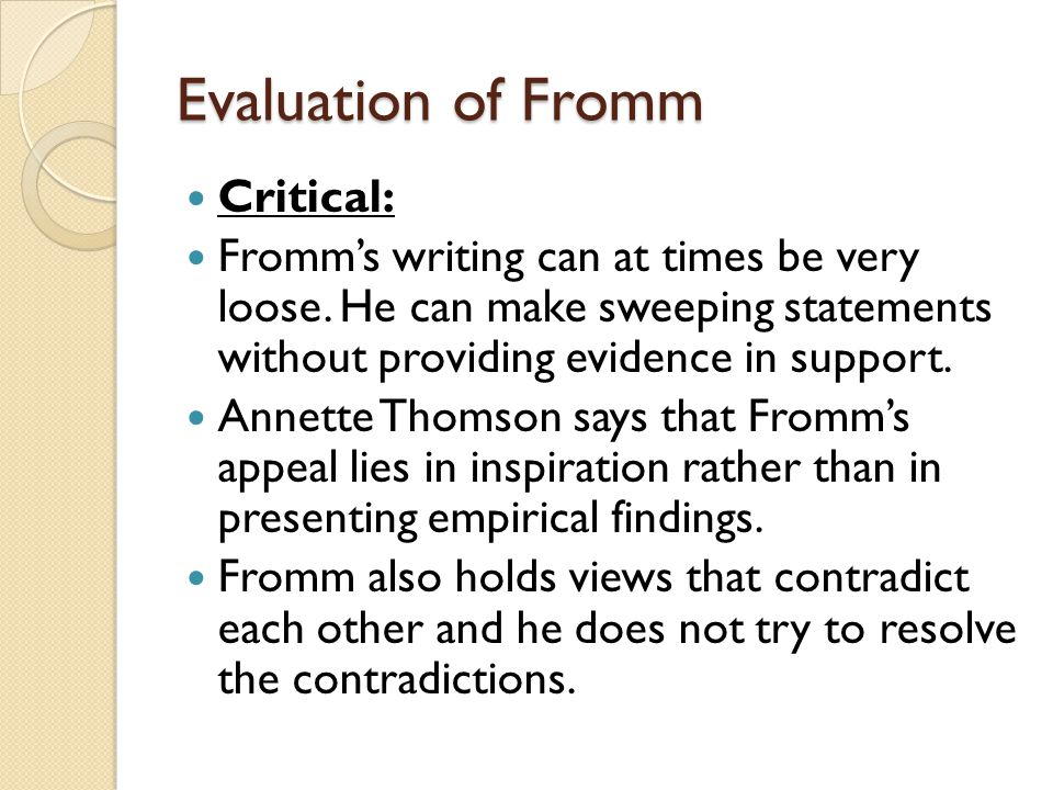 Evaluation of Fromm Critical: