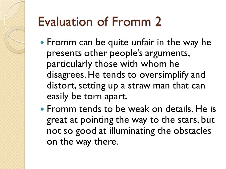 Evaluation of Fromm 2