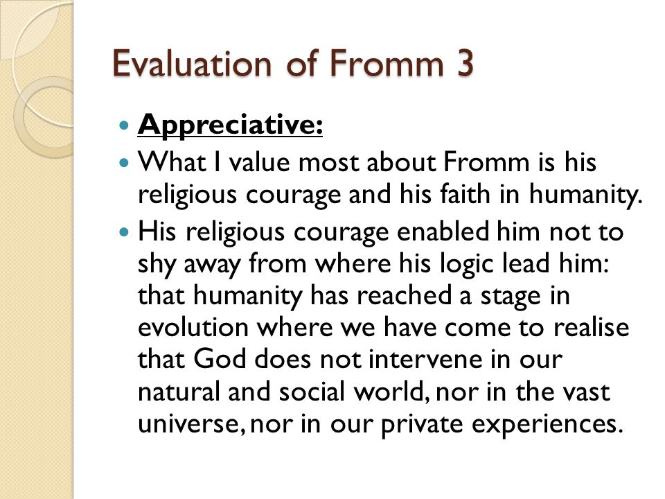 Evaluation of Fromm 3 Appreciative: