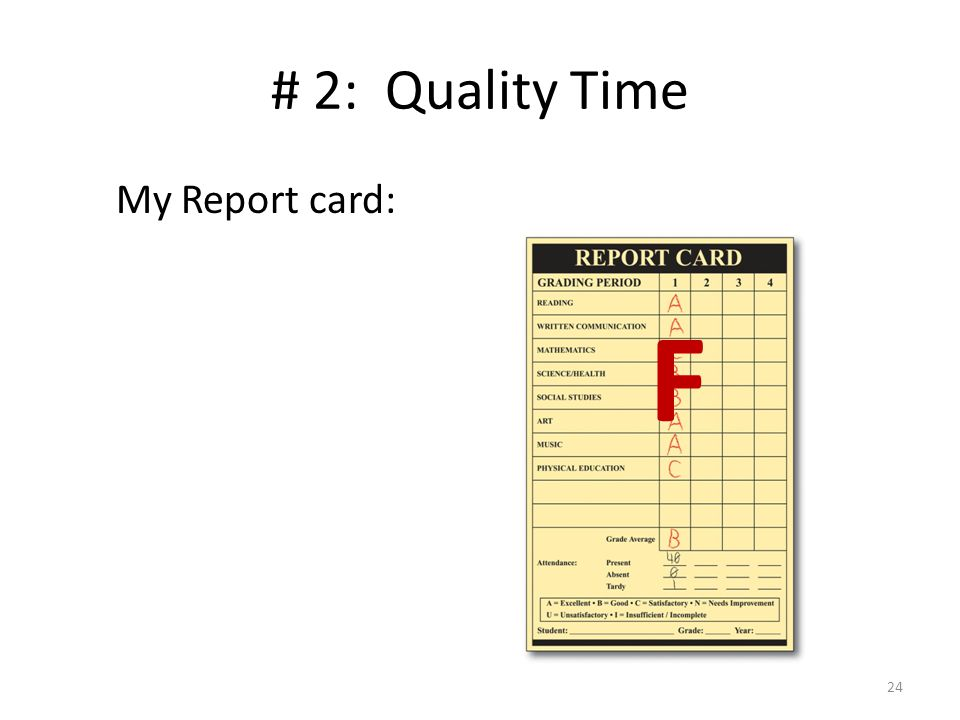 # 2: Quality Time My Report card: F