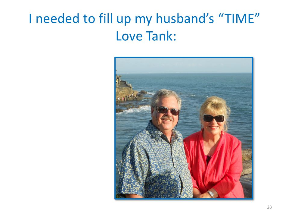 I needed to fill up my husband's TIME Love Tank: