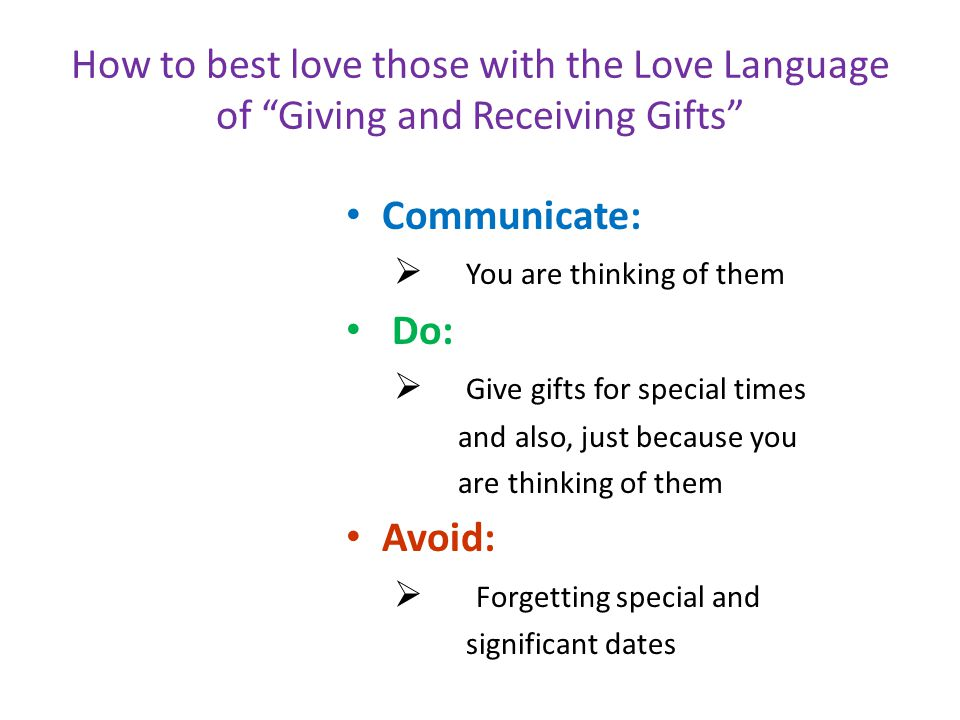 How to best love those with the Love Language of Giving and Receiving Gifts