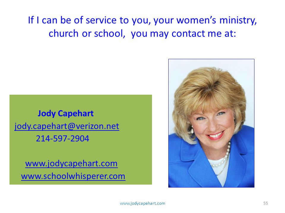 If I can be of service to you, your women's ministry, church or school, you may contact me at: