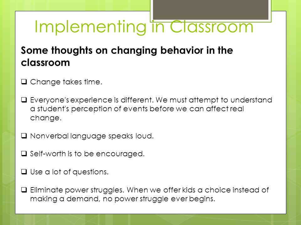 Implementing in Classroom